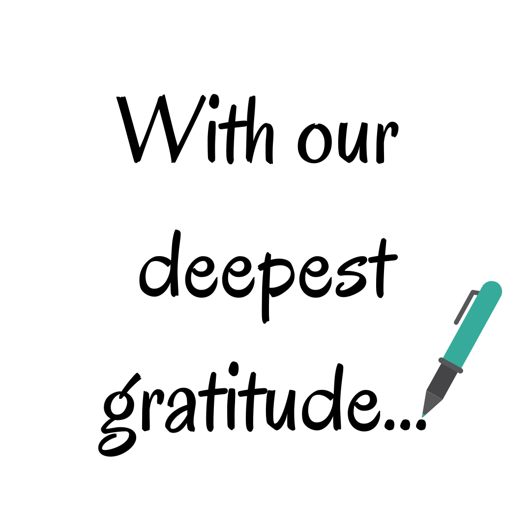 "Image of pen writing out the words, ""With our deepest gratitude"""